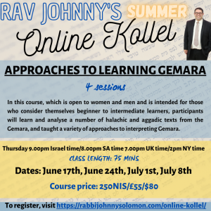 Approaches to Learning Gemara (4 sessions)
